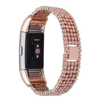 Replacement  Steel Bead Style Bracelet Smart Watch Band Strap For Fitbit Charge 2 (2016)  Nov10 E22