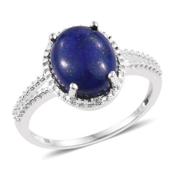 Lapis Lazuli, Simulated Diamond Sterling Silver Solitaire Ring GW 5.71 cts