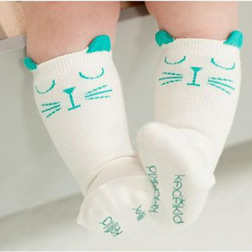 Newborn Toddler knee high sock Baby Boy Girl Socks anti slip Cute Cartoon Cat Skid Resistance leg warmers For newborns infant