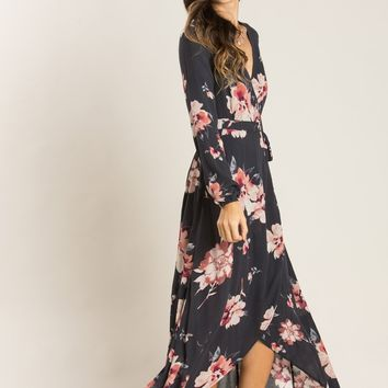Giselle Charcoal Floral Wrap Maxi Dress