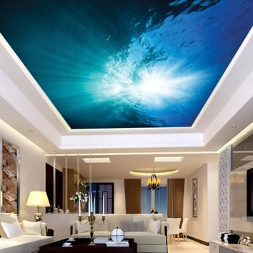 Under Water Looking Up Ceiling Mural Peel and Stick