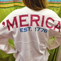 Merica Spirit Shirt Hot Pink Glitter