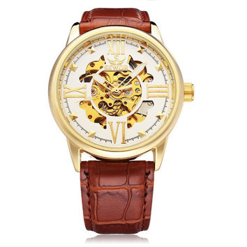 Sewor Big Dial Roman Brown PU Leather Mechanical Men Wrist Watch