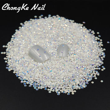2000pcs/bag ss6 2mm Flatback Jelly White AB Colors Round Candy Resin Nail Art Rhinestones For 3D Nail Rhinestones
