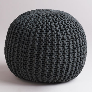 Charcoal Knitted Pouf - World Market
