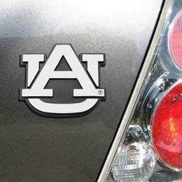 Auburn Tigers War Eagle Silver Chrome Colored Raised Auto Emblem Decal Football
