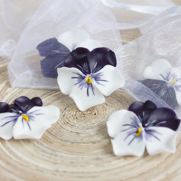 Flowers WEDDING FAVORS, Pansies, Heartsease party favor, flower brooch, flowers magnets, bridal favors, guest favors