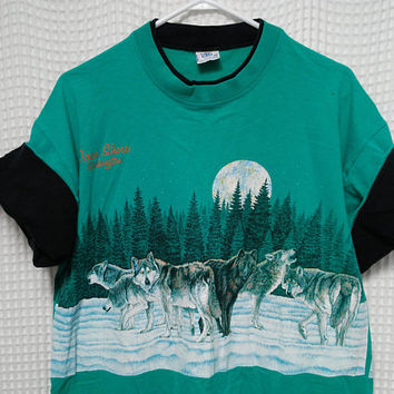 vintage Wolf Pack T Shirt turquoise with black roll em sleeves 80s 90s Ocean Shores Washington Beach Moon Forest outdoor nature scene XL art
