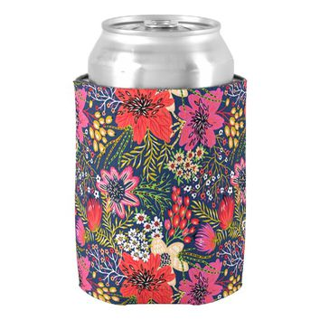 Vintage Bright Floral Pattern Fabric Can Cooler