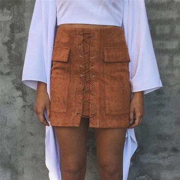 Strappy Lace Up Suede Brown Skirt