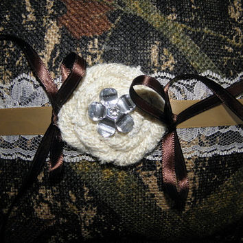 Camo Burlap Ring Bearer Pillow. Camo and Lace with a crystal accent is a perfect combination to accent your wedding rings!