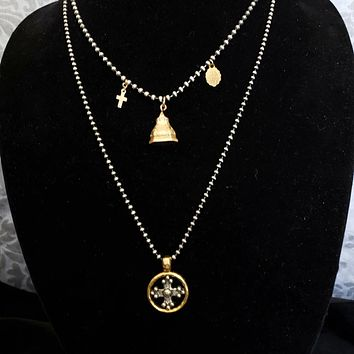 Medieval Maltese Cross Silver Gold Coin Pendant Sterling Silver Ball Chain Necklace