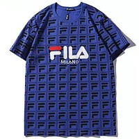 FILA 2019 new ICONIC series SNBN limited round neck half sleeve t-shirt Blue