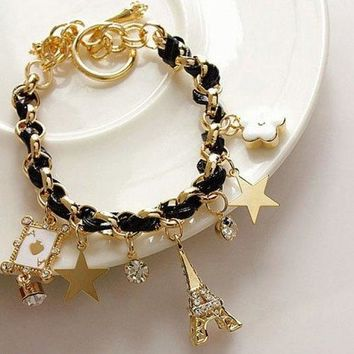 Stylish Multielement Star Flower Tower Pendant Charm Bracelet For Women - Black