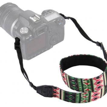 Festive Red And Green Diamond Striped Pattern Camera Strap Photographers Gift - CAST63