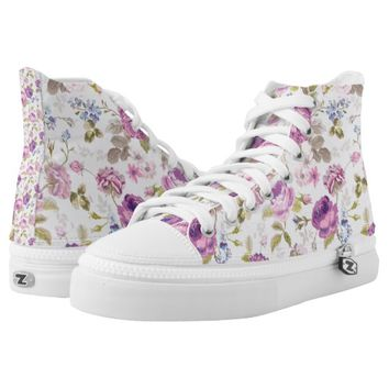 Victorian,country,lavender,shabby,chic,roses,paris Printed Shoes