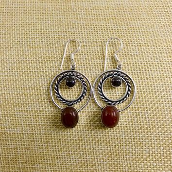 Red Onyx Oval Sterling Silver Earrings