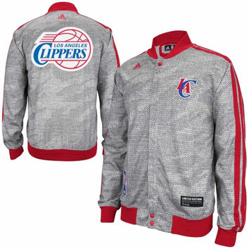 adidas Los Angeles Clippers 2013 Christmas Day On-Court Track Jacket - Ash/Red - http://www.shareasale.com/m-pr.cfm?merchantID=7124&userID=1042934&productID=540330301 / Los Angeles Clippers