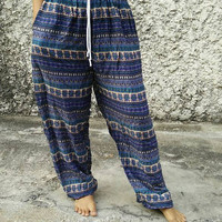 Yoga Pants Boho stripes Hobo Print Trousers Hippies Baggy Styles Gypsy Rayon clothes Tribal Comfy Clothing For Beach Summer Unisex in blue