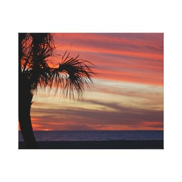 Palm Tree Silhouette on Treasure Island Sunset Canvas Print