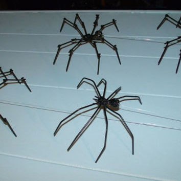 Black Spider Halloween Decoration Made from nails, Creepy and Spokey