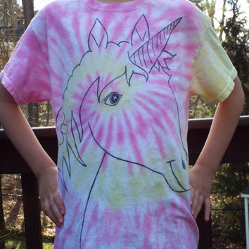 Adult Spiral Unicorn Shirt- Unicorn Tshirt- Unicorn Lover- Unicorn Clothing Hippie Clothing Fantasy Shirt- Renaissance Festival Concert Wear