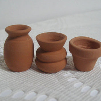 Dollhouse Pottery Mexican Miniature Garden Pots Terra Cotta Fairy Garden Pottery
