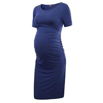 2018 New Pregnant Dress Summer O Neck Short Sleeve Sheath Pregnancy Clothes Dress Casual Maternity Dresses