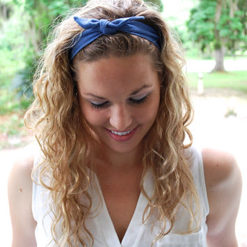 Blue Knot Headband - Blue Knotted Headband - Blue Knot Turban He 2d7a5f14e18