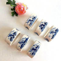 Vintage Delft Blue SIX oval napkin rings, blue & white china, oval napkin holders set, porcelain pottery, windmills and houses