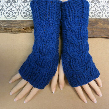 Blue Fingerless Gloves, Wrist Warmers, Cabled Arm Warmers, Womens Chunky Knitted Gloves, Australia, Nchanted Gifts