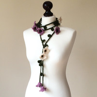 Flower Scarf, Crochet Necklace, Lariat, Beadwork, Crochet Accessories for Women, ReddApple, Gift Ideas for Mothers