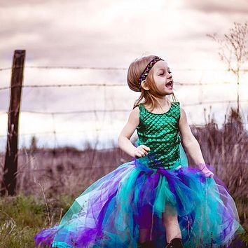 New arrival Princess Baby Kids Girls Mermaid Dress 2 Pieces Set Suit Costume Clothes