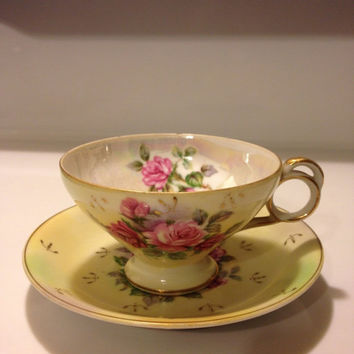 Vintage Lefton Hand Painted China Pearl Luster Teacup and Saucer Round Finger Loop Pale Yellow Pink Roses Gold Details 1950-52