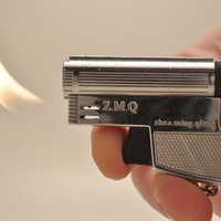 Working Z M Q Butane Gun Lighter Keychain