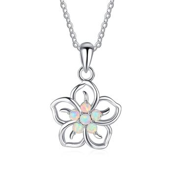 STYLEDOME Sweet White Flower Created Opal 925 Silver Necklace