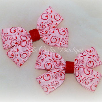 Pink & Red Floral Bow ~ Pink Hair Bow ~ Pink Clippies ~ Small Pink Bows ~ Red Hair Bow ~ Small Florial Bow ~ Baby Toddler Bows ~ Swirly Bow