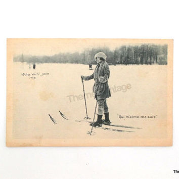 Vintage Postcard woman skier Quebec Canada antique post card skiing cross country skier