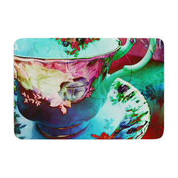 "alyZen Moonshadow ""Mad Hatters T-Party VI"" Teal Pink Memory Foam Bath Mat"