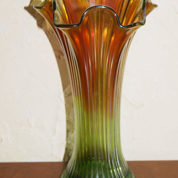 Vintage 1910s NORTHWOOD FINE RIB Pattern Marigold To Green Carnival Glass Vase
