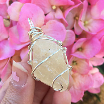 Crystal Pendant: Calcite Crystal Wrapped with Silver Wire, Crystal Jewelry, Wire Wrap, Pendant, Calcite
