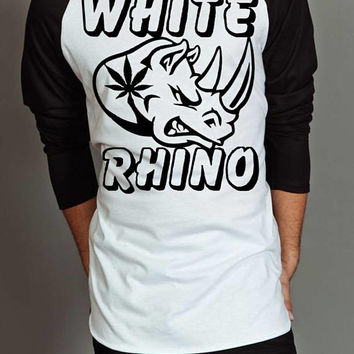 Weed T-shirt - White Rhino Mens 3/4 Sleeve Jersey - Weed Gifts - Stoner Christmas