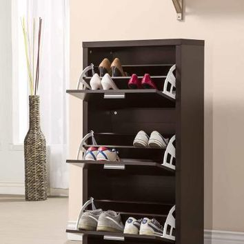 Black finish wood three door shoe cabinet with room for 4 pairs in each drawer