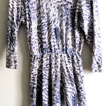 1970s angora animal print sweater dress