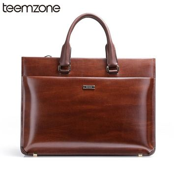 "Upgrade 15"" Laptop Bag Mens Genuine Leather Vintage Formal Business Lawyer Briefcase Messenger Shoulder Attache Portfolio Bag"