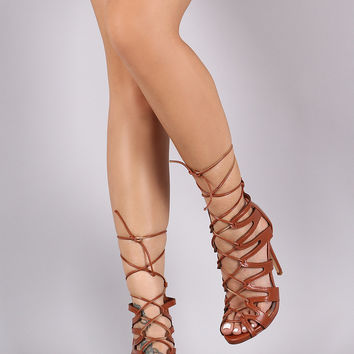 Liliana Strappy Corset Lace-Up Stiletto Heel