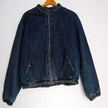 Vtg Ralph Lauren Polo Denim Jean Jacket Coat Flannel Lined M L