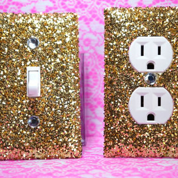 SET OF 2 CHUNKY GOLD Glitter Switch Plate & Outlet Cover ALL Styles Available!