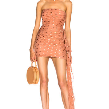 Michelle Mason Ruched Strapless Dress in Desert Rose | FWRD