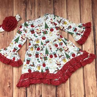 RTS-Girls Lace Christmas Dress, Baby Girls Christmas Dress    D52